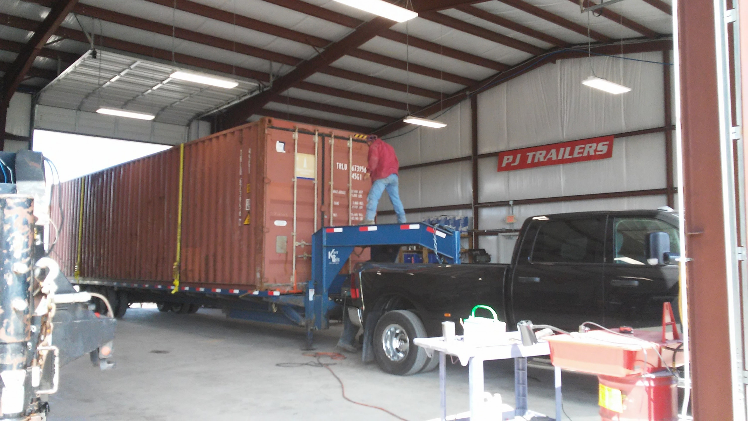 PJ Trailers being serviced
