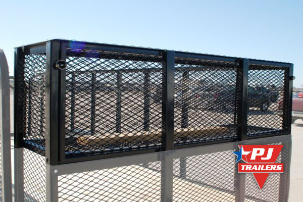 cage storage for landscape trailers