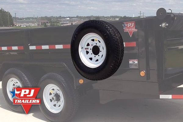 Spare tire mounted on trailer