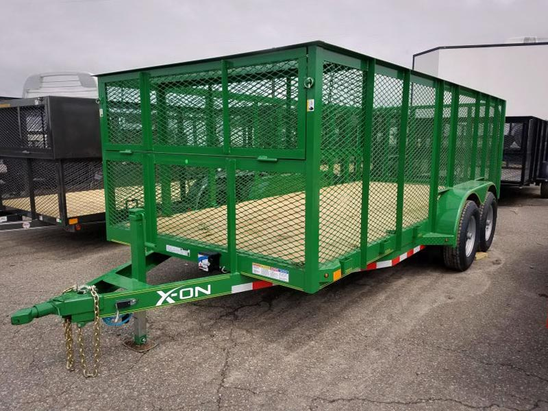 green landscaping trailer