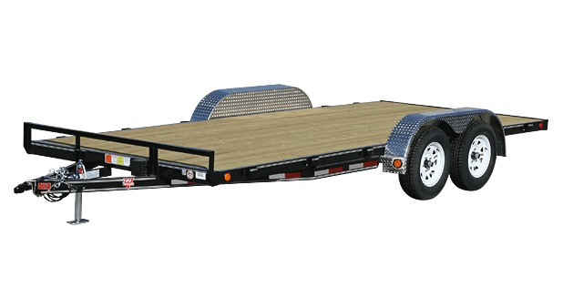 Flat PJ trailer with four wheels and no side rails