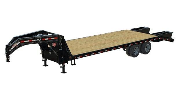 Flat PJ trailer with gooseneck