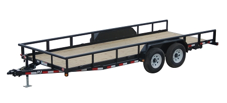 PJ trailer with side rails