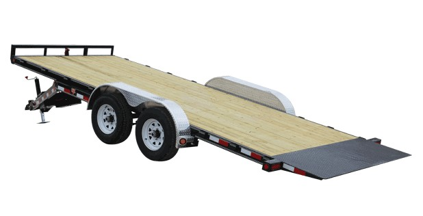 four wheeled trailer with a tilt deck