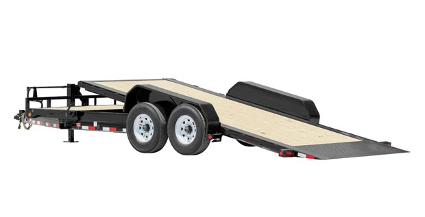Full tilt trailer with 4 wheels